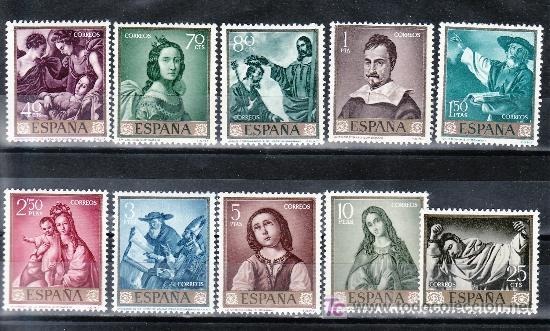 ESPAÑA 1418/27 SIN CHARNELA, PINTURA, FRANCISCO DE ZURBARAN (Sellos - España - II Centenario De 1.950 a 1.975 - Usados)