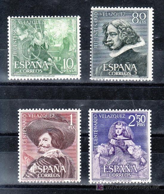 ESPAÑA 1340/3 SIN CHARNELA, PINTURA, III CENTENARIO DE LA MUERTE DE VELAZQUEZ (Sellos - España - II Centenario De 1.950 a 1.975 - Usados)