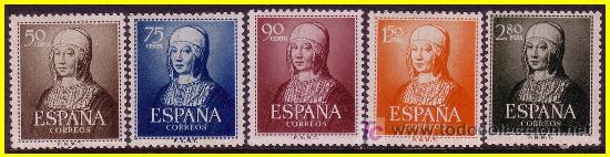 1951 V CENTENARIO NAC. ISABEL LA CATÓLICA Nº 1092 A 1096 * * (Sellos - España - II Centenario De 1.950 a 1.975 - Nuevos)