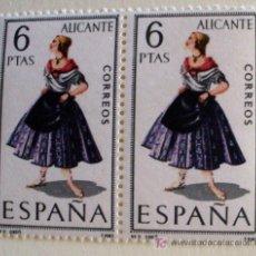 Sellos: TRAJES TIPICOS- ALICANTE-BLOQUE DE 2. Lote 19556408