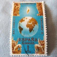 Sellos: SELLO -ESPAÑA- 1 PESETA - 21 CONCILIO ECUMÉNICO VATICANO II- USADO. Lote 20647759