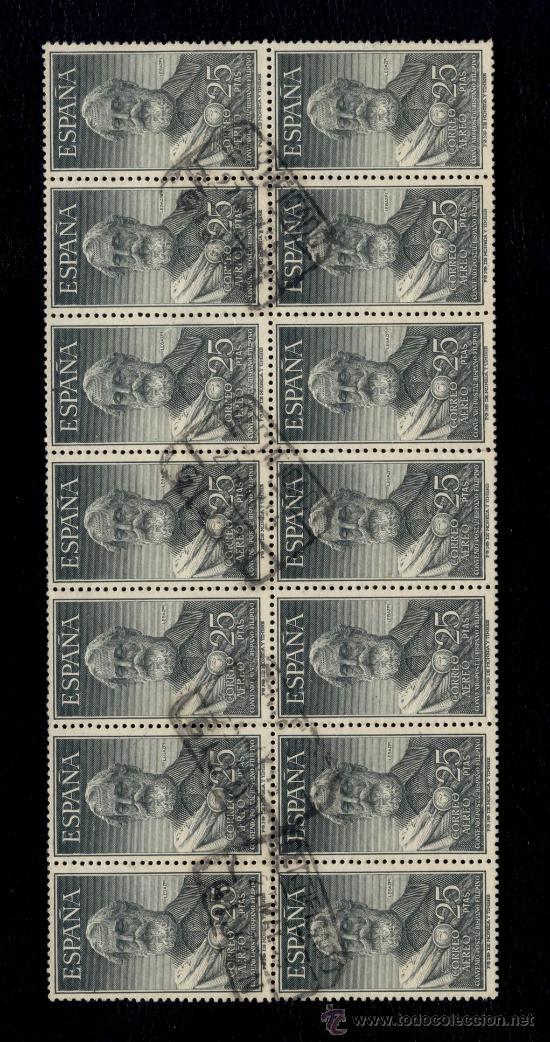 ESPAÑA Nº 1124 - #1124 - LEGAZPI 1953- ESPECTACULAR BLOQUE DE 14 SELLOS CON CERTIFICADO GIJON (Sellos - España - II Centenario De 1.950 a 1.975 - Usados)
