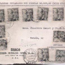 Sellos: FRONTAL DE CARTA CON MEMBRETE.DE ELDA A SEVILLA 3 ABRIL 54. FRANQUEADO CON 9 SELLOS 1 PTA Y 1 SELLO. Lote 27292374
