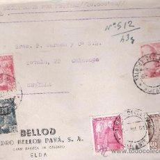 Sellos: FRONTAL DE CARTA CON MEMBRETE. DE ELDA A SEVILLA 6-JUL-51. FRANQUEADO CON 2 SELLOS DE 4 PTAS,1 DE . Lote 27292780