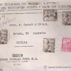 Sellos: FRONTAL DE CARTA CON MEMBRETE. DE ELDA A SEVILLA 24-AGO-51. FRANQUEADO CON 4 SELLOS DE 2 PTAS Y . Lote 27292909