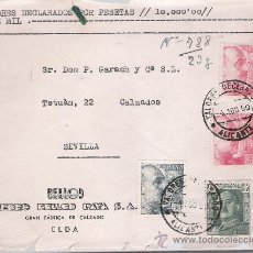 Sellos: FRONTAL DE CARTA CON MEMBRETE. DE ELDA A SEVILLA 4-AGO-50. FRANQUEADO CON 2 SELLOS DE 4 PTAS, 1 . Lote 27292994