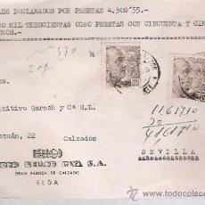 Sellos: FRONTAL DE CARTA CON MEMBRETE. DE ELDA A SEVILLA DE 1950. FRANQUEADO CON 2 SELLOS DE 2 PTAS. MA- . Lote 27293095