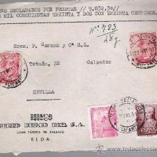 Sellos: FRONTAL DE CARTA CON MEMBRETE. DE ELDA A SEVILLA 22-MAYO-51. FRANQUEADO CON 2 SELLOS 1058,1 SEL-. Lote 27396304
