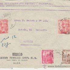 Sellos: FRONTAL DE CARTA DE ELDA A SEVILLA DE 1951. FRANQUEADO CON PAREJA 933 MÁS 1027 Y 1032.. Lote 28800704