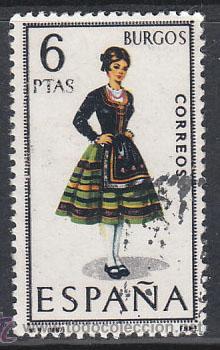 EDIFIL 1775, TRAJE REGIONAL DE BURGOS, USADO (Sellos - España - II Centenario De 1.950 a 1.975 - Usados)