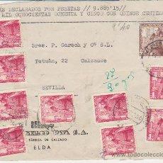 Sellos: FRONTAL DE CARTA DE ELDA A SEVILLA DE SEPT. 1950.FRANQUEADA CON 9 SELLOS 1032 Y 1 SELLO 1027.. Lote 29519614