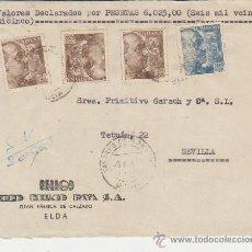 Sellos: FRONTAL DE CARTA DE ELDA A SEVILLA. FRANQUEADA CON 3 SELLOS 932 Y 1 SELLO 924. MATASELLOS DE VALO-. Lote 29519692