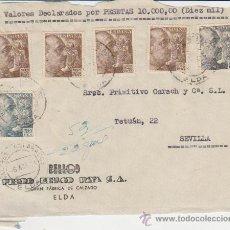 Sellos: FRONTAL DE CARTA DE ELDA A SEVILLA. FRANQUEADA CON 4 SELLOS 932, 1 SELLO 930 Y UN SELLO 927.. Lote 29519755