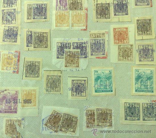 Sellos: CIRCA 1964-1965. HOJA CON 60 PÓLIZAS DIFERENTES DE LA ÉPOCA. - Foto 5 - 29870689
