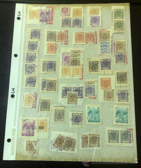 CIRCA 1964-1965. HOJA CON 60 PÓLIZAS DIFERENTES DE LA ÉPOCA. (Sellos - España - II Centenario De 1.950 a 1.975 - Usados)