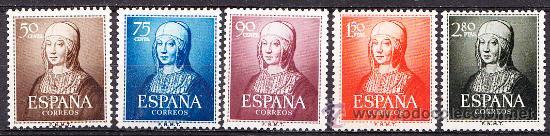ESPAÑA 1951 V CENTENARIO NACIMIENTO ISABEL LA CATÓLICA EDIFIL 1092/96 NUEVO ** (Sellos - España - II Centenario De 1.950 a 1.975 - Nuevos)