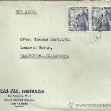Sellos: TENERIFE CC CON MAT HEXAGONAL CORREO AEREO SELLOS FRANCO CASTILLO MOTA 75 CTS X 2 . Lote 30954704