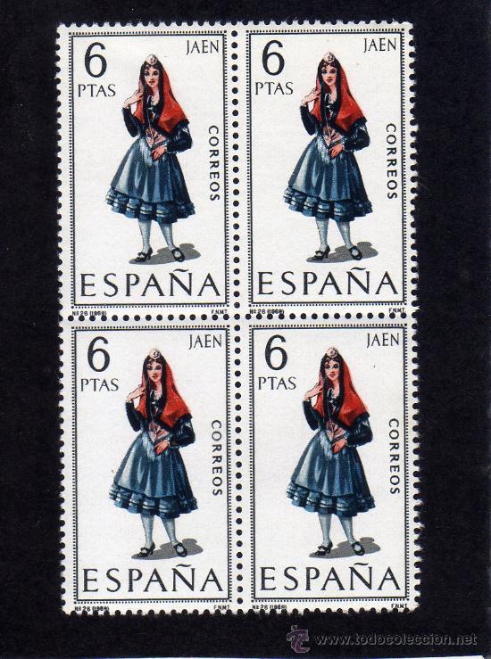 TRAJES REGIONALES - JAEN - EDIFIL 1899 - BLOQUE DE CUATRO. (Sellos - España - II Centenario De 1.950 a 1.975 - Nuevos)
