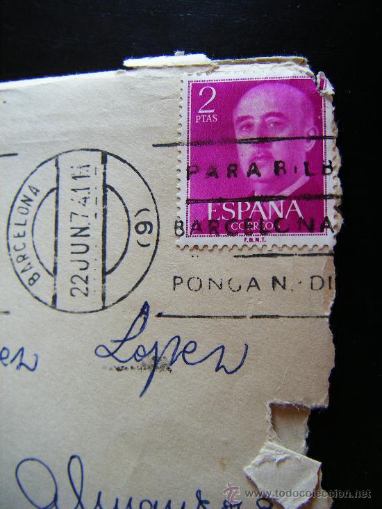 Sellos: SOBRE SIN CARTA CON SELLO II CENTENARIO FRANCO. 2 PTAS. SELLADO EN BARCELONA. ENVIADO A C. ALMANZORA - Foto 3 - 32267664