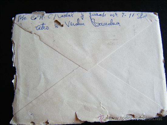 Sellos: SOBRE SIN CARTA CON SELLO II CENTENARIO FRANCO. 2 PTAS. SELLADO EN BARCELONA. ENVIADO A C. ALMANZORA - Foto 4 - 32267664