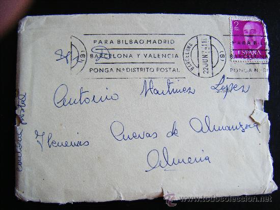 SOBRE SIN CARTA CON SELLO II CENTENARIO FRANCO. 2 PTAS. SELLADO EN BARCELONA. ENVIADO A C. ALMANZORA (Sellos - España - II Centenario De 1.950 a 1.975 - Cartas)