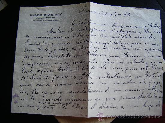 Sellos: CARTA CON SELLO 1 PESETA FRANCO CON MATASELLO LORCA, MURCIA. ENVIADA A CUEVAS DEL ALMANZORA. ALMERIA - Foto 5 - 32367206