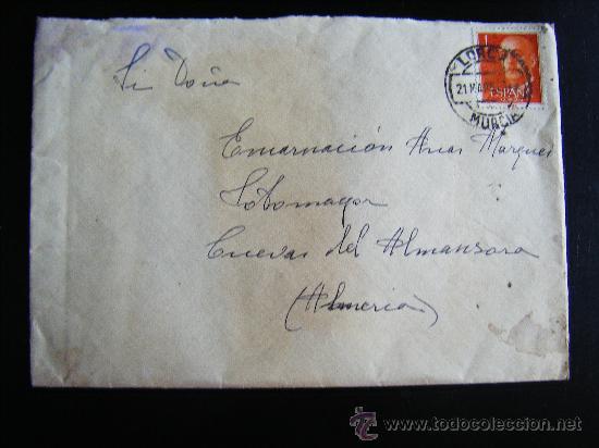 CARTA CON SELLO 1 PESETA FRANCO CON MATASELLO LORCA, MURCIA. ENVIADA A CUEVAS DEL ALMANZORA. ALMERIA (Sellos - España - II Centenario De 1.950 a 1.975 - Cartas)