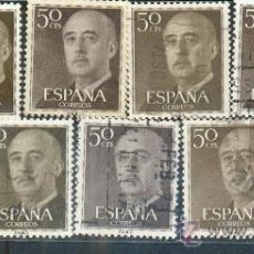 Sellos: FRANCISCO FRANCO. LOTE DE 9 SELLOS DE 50 CTS CON VARIACIONES DE COLOR. Lote 32372771