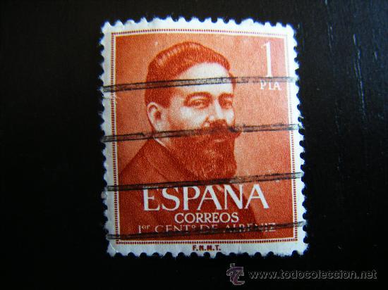 SELLO 1 PESETA PRIMER CENTENARIO DE ALBENIZ. (Sellos - España - II Centenario De 1.950 a 1.975 - Usados)