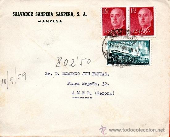 SOBRE SALVADOR SANPERA SANPER S.A. MANRESA (Sellos - España - II Centenario De 1.950 a 1.975 - Cartas)