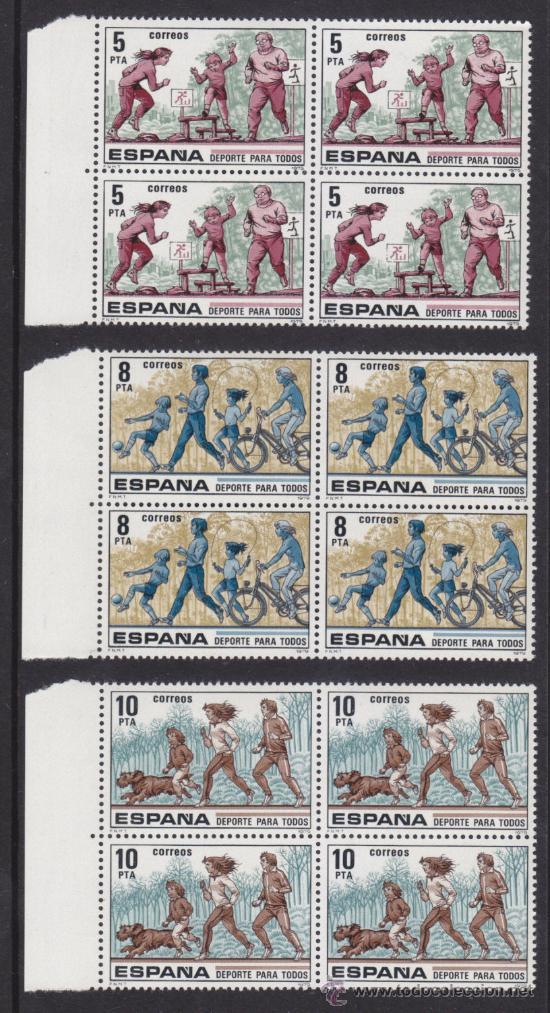 ESPAÑA 1979, DEPORTES PARA TODOS, BLOQUES DE CUATRO, SERIE COMPLETA, NUEVOS SIN FIJASELLOS (Sellos - España - II Centenario De 1.950 a 1.975 - Nuevos)