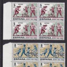 Sellos: ESPAÑA 1979, DEPORTES PARA TODOS, BLOQUES DE CUATRO, SERIE COMPLETA, NUEVOS SIN FIJASELLOS. Lote 34011532