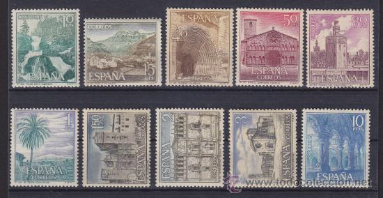 Sellos: ESPAÑA 1964 - 1966, PAISAJES Y MONUMENTOS, SERIE TURISTICA, 2 SERIES COMPLETAS, NUEVOS ** - Foto 2 - 34012673
