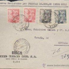 Sellos: FRONTAL DE CARTA DE ELDA A SEVILLA.DEL 10 ABR. 1954. FRANQUEADO CON 2 SELLO 1058,UN 1053. Lote 35412984