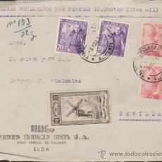 Sellos: FRONTAL DE CARTA DE ELDA A SEVILLA.DEL 3 AGO. 1951.FRANQUEADO CON 2 SELLOS 1058 Y 2 DEL. Lote 35413040