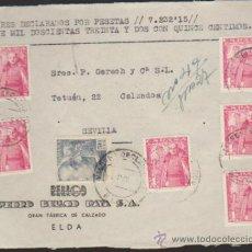 Sellos: FRONTAL DE CARTA DE ELDA A SEVILLA.DEL 5 MAY. 1951.FRANQUEADO CON 6 SELLOS 1032 Y 1 DEL. Lote 35413224