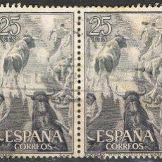 Sellos: 1256 DOS SELLOS DE 25 CTS CORRIDAS / FIESTA NACIONAL. TAUROMAQUIA.. Lote 35652023