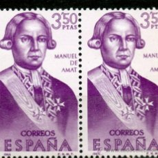 Sellos: 1756 / NUEVO / BLOQUE DE DOS / 3'50 PTAS MANUEL DE AMAT Y JUNYENT / FORJADORES DE AMÉRICA.. Lote 219711811