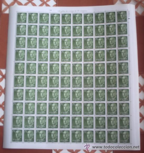 HJ - ESCASO PLIEGO DE 100 SELLOS DE CORREOS DE 70 CNT SERIE Q10707 FRANCISCO FRANCO (Sellos - España - II Centenario De 1.950 a 1.975 - Nuevos)