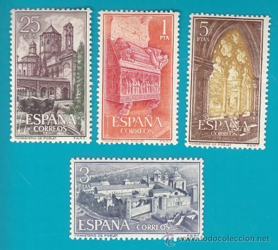 ESPAÑA 1963, EDIFIL 1494 AL 1497, REAL MONASTERIO DE SANTA MARIA DE POBLET, NUEVO/S CON FIJASELLOS (Sellos - España - II Centenario De 1.950 a 1.975 - Nuevos)
