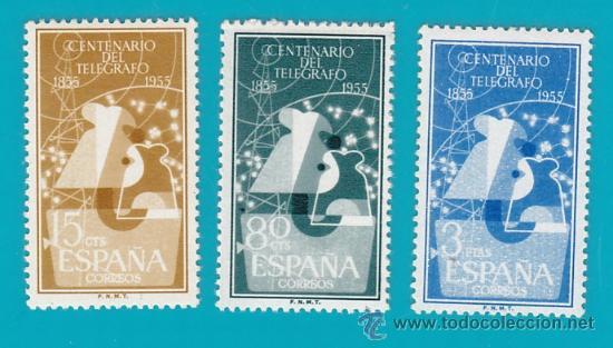 ESPAÑA 1955 EDIFIL 1180 AL 1182 I CENTENARIO DEL TELEGRAFO, NUEVO/S CON FIJASELLOS (Sellos - España - II Centenario De 1.950 a 1.975 - Nuevos)