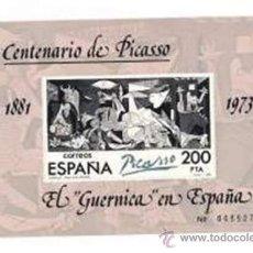 Sellos: SG HOJA CON SELLO EL GUERNICA EN ESPAÑA - CENTENARIO DE PICASSO 1881 /1973. Lote 36593890