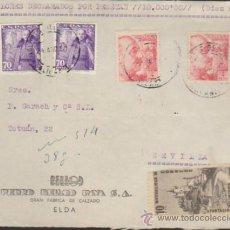 Sellos: FRONTAL DE CARTA DE ELDA A SEVILLA DEL 24 AGOS. 1951. CON EDIFIL 933(2) Y 1030 (2). Lote 36719185