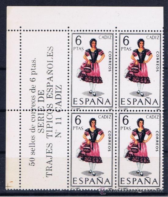 TRAJES REGIONALES BLOQUE DE CUATRO NUEVO*** CADIZ (Sellos - España - II Centenario De 1.950 a 1.975 - Nuevos)