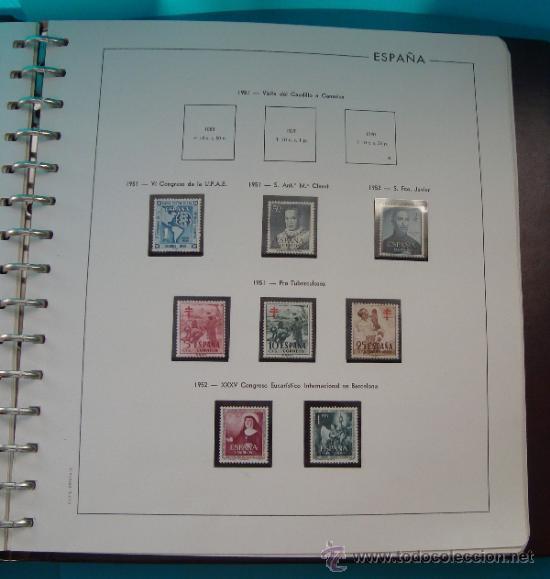 Sellos: COLECCION SELLOS DE ESPAÑA 1950 A 1964 NUEVOS CON FIJASELLOS Y CIRCULADOS MONTADO EN ALBUM - Foto 5 - 37562848