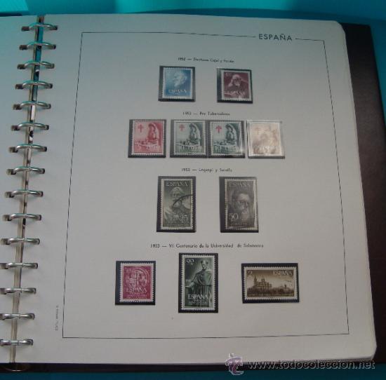 Sellos: COLECCION SELLOS DE ESPAÑA 1950 A 1964 NUEVOS CON FIJASELLOS Y CIRCULADOS MONTADO EN ALBUM - Foto 8 - 37562848