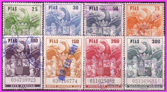 PÓLIZAS, FISCALES 1973 ÁGUILA, ALEMANY Nº 720 A 727 (O) SERIE COMPLETA (Sellos - España - II Centenario De 1.950 a 1.975 - Usados)