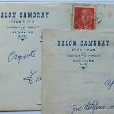 Sellos: ALGUAIRE / SOBRE Y CARTA COMERCIAL / CINE-BAR SALON CAMBRAY / MATASELLOS ALGUAIRE / LLEIDA. Lote 38307573