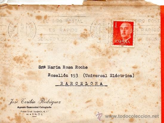 CARTA JOSE TORIBIO RODRIGUEZ AGENTE COMERCIAL COLEGIADO MASNOU (Sellos - España - II Centenario De 1.950 a 1.975 - Cartas)