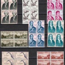 Sellos: ESPAÑA FORJADORES DE AMERICA EDIFIL NUM. 1819/1826 ** SERIE COMPLETA BLOQUE 4 SELLOS SIN FIJASELLOS. Lote 237458920